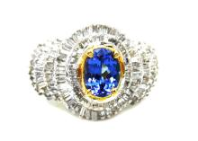 1.04ct. Center Oval Tanzanite Ring 14K