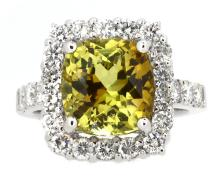 5.99ct. Cushion Shape Chrysoberyl Ring with GIA Report 18K