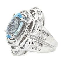 5.19ct. Center Oval Shape Aquamarine Ring 14K