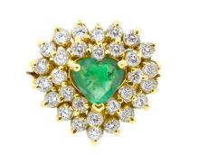 1.00ct. Center Heart Shape Emerald Ring 18K