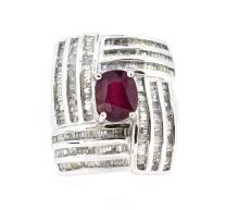 2.61ct. Center Oval Ruby Ring with 2.57ct.tw on Diamonds 14K