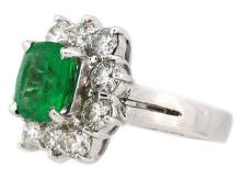 3.55ct. Center Cushion Emerald Ring & 2.75ct.tw on Diamonds 18K