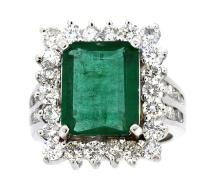 4.74ct. Center Emerald Ring & 2.33ct.tw on Diamonds 18K