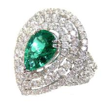 2.01ct. Pear Shape Emerald Ring 2.13ct.tw on Diamonds 18K