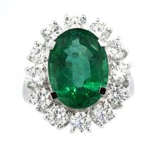 6.19ct. Center Emerald Ring with 2.03ct.tw on Diamonds 18K