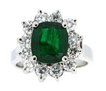 3.25ct. Center Cushion Emerald Ring & 1.34ct.tw on Diamonds 18K