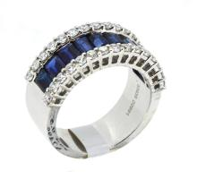 3.63ct.tw Baguette Sapphires Ring 18K