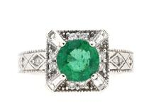 1.49ct. Center Round Emerald Ring 14K