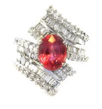 Ring Baguette and  Round Diamonds 1.21ct.tw Pink Sapphire 1.96ct 14K