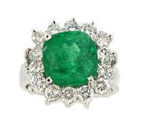 Ring  Center Emerald 5.23ct with (14) Diamonds 1.72ct.tw 18K