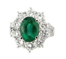 Ring Oval Shape Emerald 3.11ct  with  (26)  Diamonds 2.57ct.tw 18K