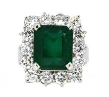 Ring Center Emerald 7.07ct  with Diamonds 2.67ct.tw 18K