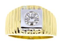 Ring Men's Bezel Set Diamond .63ct Clarity VS-2 - SI-1 Colour E 18K