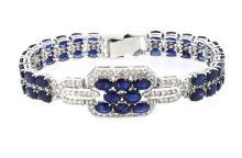 Bracelet 48) Sapphires 26.43ct.tw with  Diamonds 3.09ct.tw 18K
