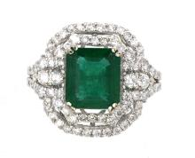 Ring  Center Emerald 3.53ct  with  Diamonds 1.36ct.tw 18K