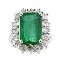 Ring Center Emerald 5.65ct.,  with Diamonds 1.60ct.tw 18K