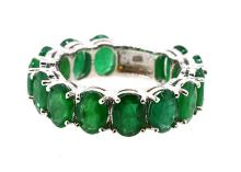 Ring Eternity  (13) Oval Shape Emeralds 9.22ct.tw