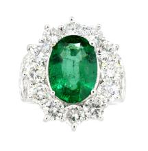 Ring Oval Shaped Emerald 3.90ct with Diamonds 3.19ct.tw 18K