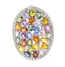 Brooch/Pin Multi Colored Sapphoires 17.37ct.tw Diamnds 1.98ct.tw 18K