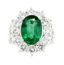 3.90ct.  Center Oval Shape Emerald 18K