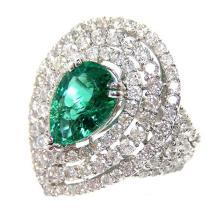 2.01ct. Pear Shape Emerald Ring 18K