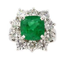 3.55ct. Center Emerald Ring 18K