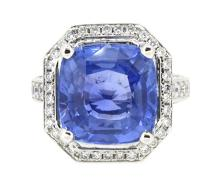 11.20ct. Center Unheated Blue Sapphire Ring 18K-GIA