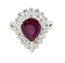 4.05ct. Center Pear Ruby Ring 18K