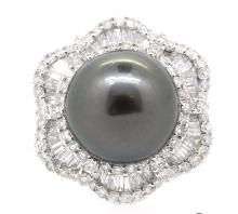 15mm Center Tahitian Pearl Ring 18K