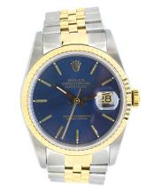 Rolex-Datejust-Men's Watch  Blue Dial 18K Yellow Gold & Stainless Steel