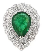 5.78ct. Center Pear Shape  Emerald Ring with GIA Report 18K