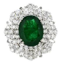 4.49ct. Oval Shape Natural Emerald Ring with GIA Report 18K