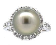 11.68mm Center Silver Tahitian Pearl Ring 18K
