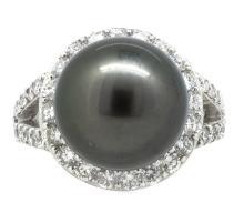 13.94mm Center Black Tahitian Pearl Ring 18K