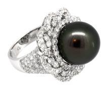 13.50mm Center Black Tahitian Pearl Ring 18K