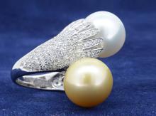 White & Yellow South Sea Pearl Ring 18K