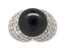 13.56mm Center Black Tahitian Pearl Ring 18K