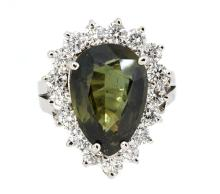 8.95ct. Pear Shaped Unheated Sapphire Ring 18K-GIA