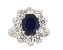 2.87ct. Center Blue Sapphire Ring 18K
