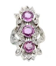3.72ct.tw Pink Saphire Ring 18K