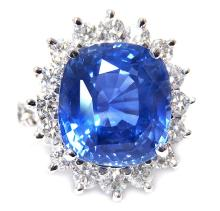 12.43ct. Center Unheated Blue Sapphire Ring 18K-GIA