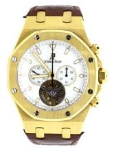 Watch Pre Owned Audemars Piguet Tourbillon Royal Oak With Original Certification 18K Yellow Gold