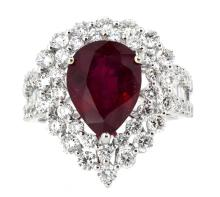 4.57ct. Center Pear Shape Ruby Ring 18K