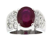 3.77ct. Center Oval Ruby Ring 14K