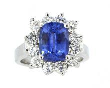3.51ct. Cushion Brilliant Cut Unheated Blue Sapphire Ring 18K-GIA
