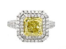 3.04ct. Center Fancy Yellow Diamond Ring 18K-GIA