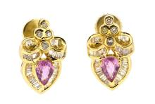 2.46ct.tw. Pink Sapphire Earrings 18K With Screw Backs