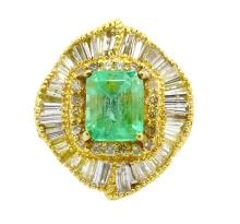 3.35ct. Center Colombian Emerald Ring 18K