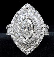 1.51ct. Soltaire Marquise Diamond Clarity SI-1 Color E. Ring 18K With EGL Report