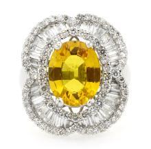 4.22ct. Center Yellow Sapphire Ring 18K
